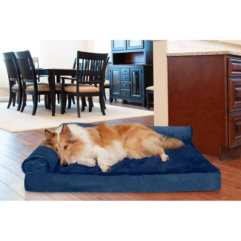 FurHaven Pet Bed Plush & Velvet Cooling Gel Deluxe Chaise Lounge Dog Bed