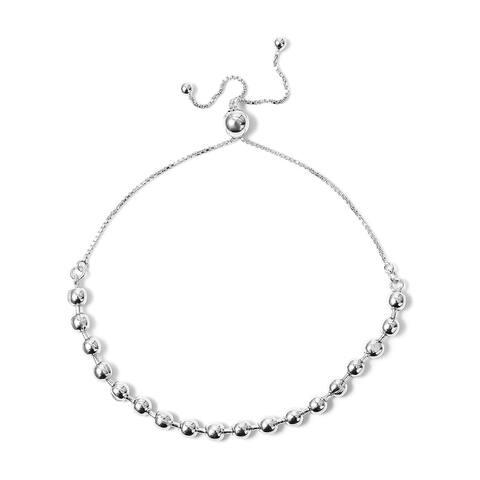 925 Sterling Silver Bead Ball Bracelet Adjustable Steel Bolo Chain - 9.5