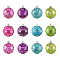 "12ct Colorful Star Glitter Shatterproof Christmas Ball Ornaments 2.5"" (60mm)"