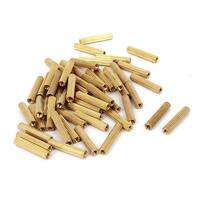 Unique Bargains 52 Pcs M2 Female Threaded Pillars Brass Standoff Spacer Gold Tone 16mm Length