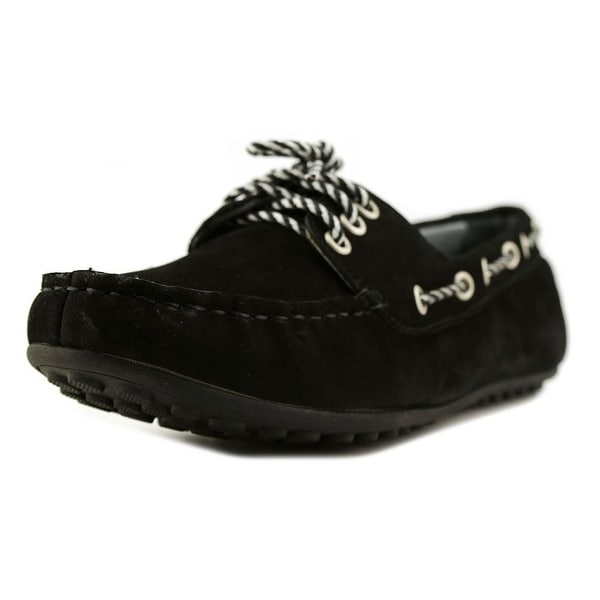 David Tate Talia Women W Moc Toe Leather Black Loafer