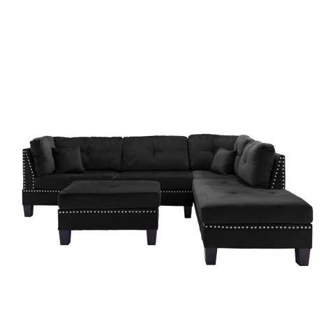 L-Shape Sectional Sofa w/Ottoman and nailhead trim accent