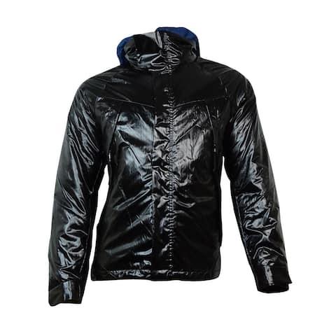 Nautica Men's Hooded Vinyl Bomber Jacket (XXL, True Black) - True Black - XXL