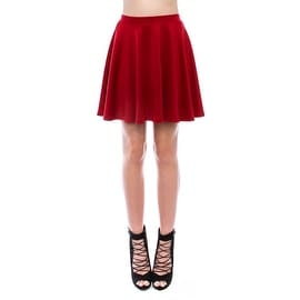 Simply Ravishing Women's Basic Stretch Flared Skater Mini Skirt