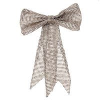 "13"" Glamour Time Champagne Rhinestone Mesh Bow Commercial Size Christmas Ornament - Silver"