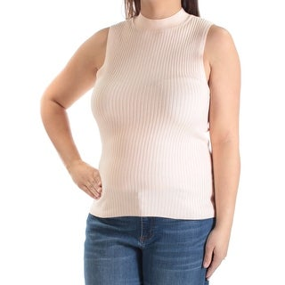 Womens Orange Sleeveless Crew Neck Sweater Size XL
