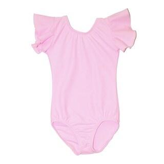 Little Girls Pink Solid Color Flutter Sleeved Dancewear Leotard