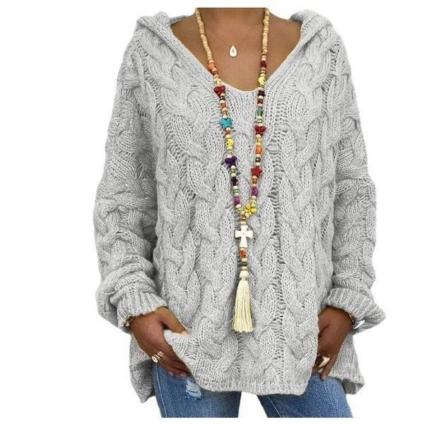 Twist Knit Hoodie Sweater. Opens flyout.