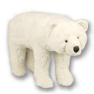 "27"" Soft Plush Standing White Polar Bear Stuffed Footrest Ottoman"