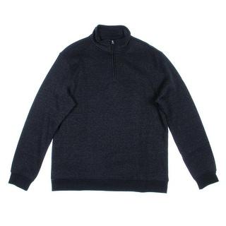 John Ashford Mens Fleece Heathered Funnel-Neck Sweatshirt - M