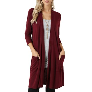 NE PEOPLE Womens Basic 3/4 Sleeve Open Front Cardigan S-3XL [NEWJ1439] (More options available)