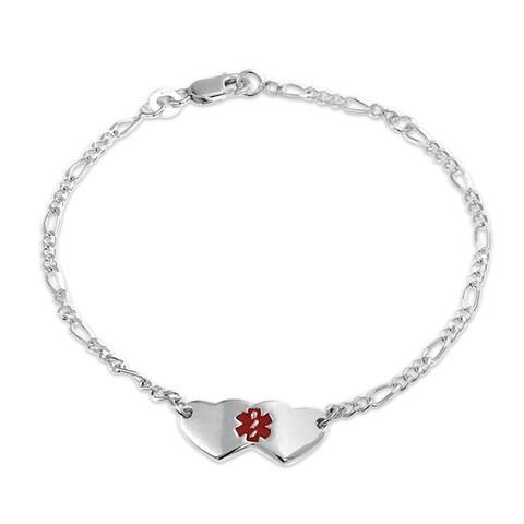 Bling Jewelry Red Enamel Hearts Cross Medical Alert ID Bracelet 925 Silver
