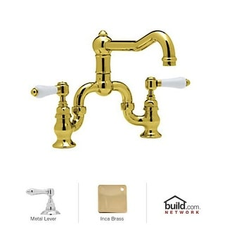 Rohl A1420LM-2 Country Kitchen Bridge Faucet with Metal Lever Handles