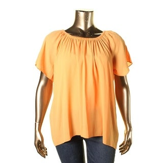 Vince Camuto Womens Plus Off The Shoulder Georgette Casual Top