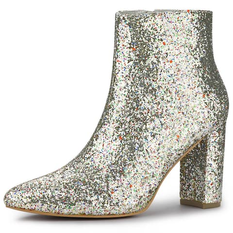 Allegra K Women's Glitter Pointed Toe Chunky Heel Ankle Boots