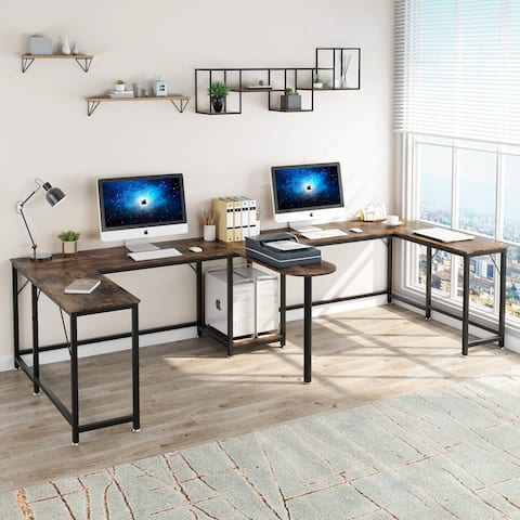 126 inch Extra Long Double Computer Desk Large Two Person Office Desk
