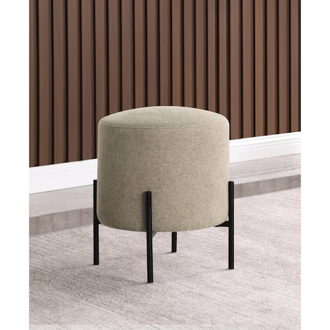 Round Upholstered Ottoman with Metal Legs