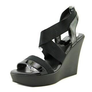 Charles By Charles David Pert Women Open Toe Canvas Black Wedge Heel