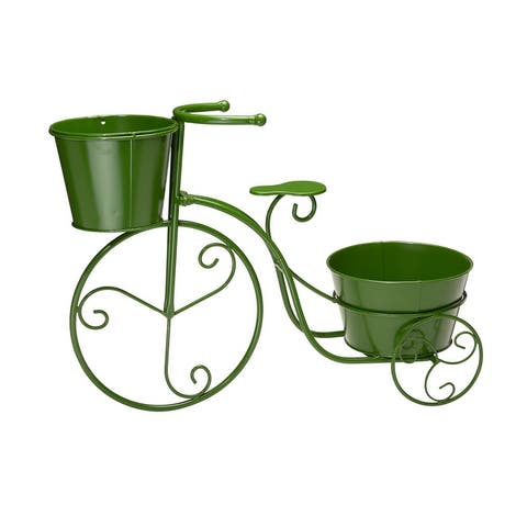 """Glitzhome 21.5""""L Hand painted Metal Bicycle Planter Stand"""