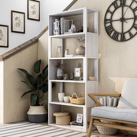 Furniture of America Jessica White Oak Modern Farmhouse Bookcase