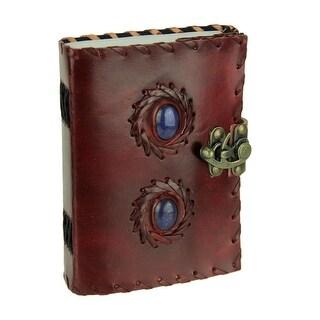 Leather Bound Lapis Blue Stone Locking Journal
