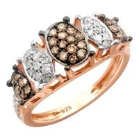 Prism Jewel 0.32Ct Brown Diamond With Diamond Engagement Ring - White G-H