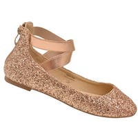 Bella Marie Adult Champagne Glitter Criss-Cross Ankle Strap Flats