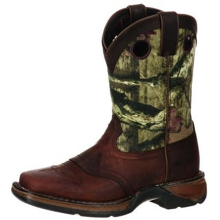 "Durango Western Boots Boys 8"" Kids Camo Saddle Leather Brown"