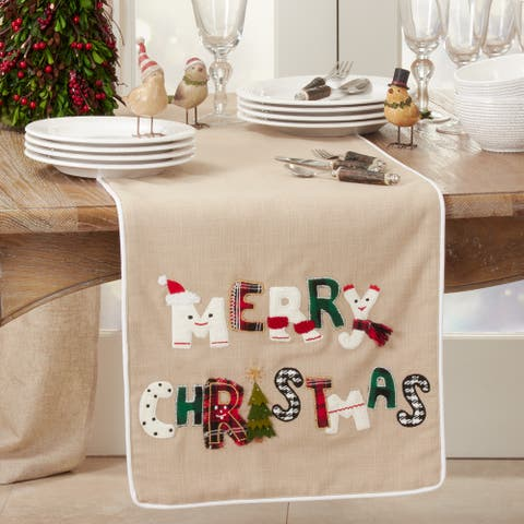 Table Runner With Merry Christmas Design