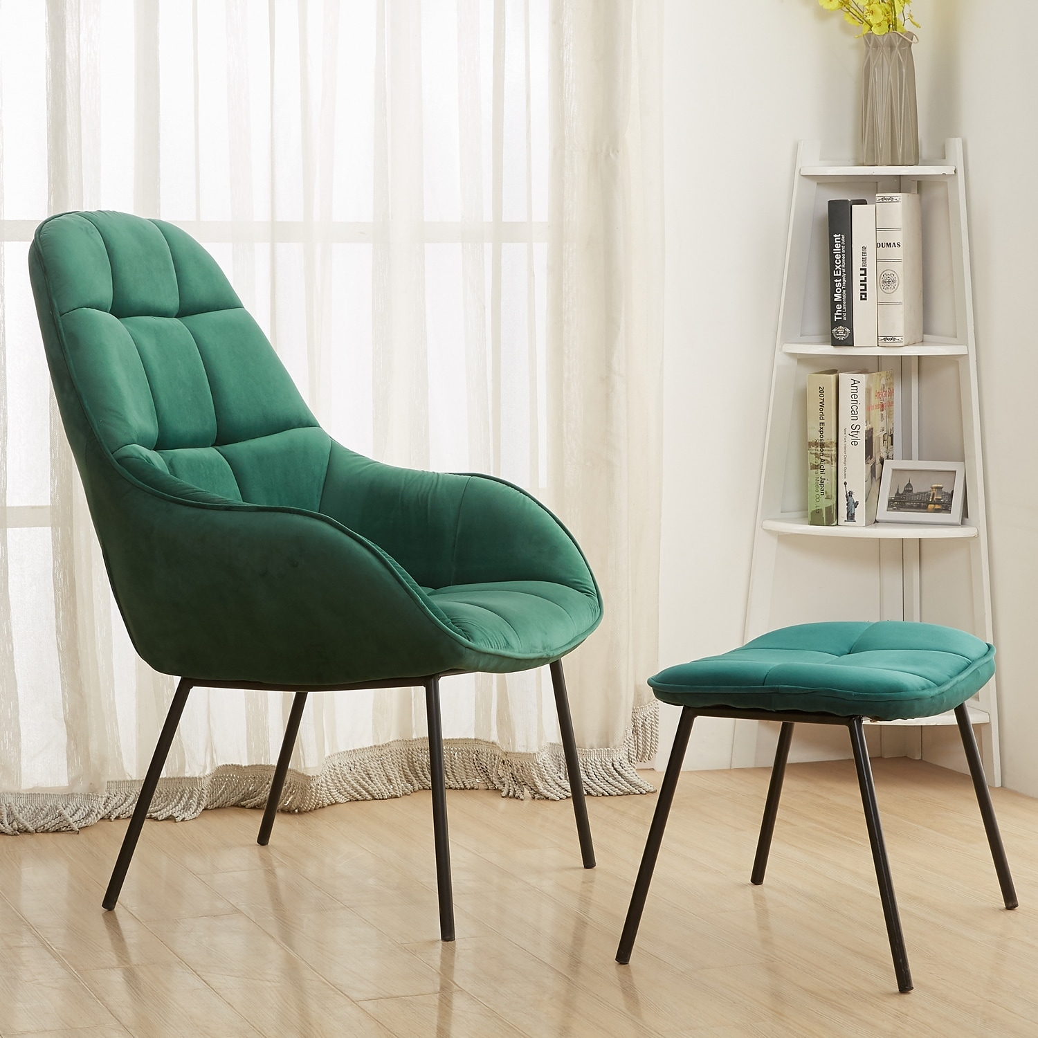 . VECELO Living Room Velvet Fabric Arm Chairs  Sofa Chairs with Ottoman Metal  Frame