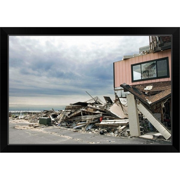 """Hurricane damage"" Black Framed Print"