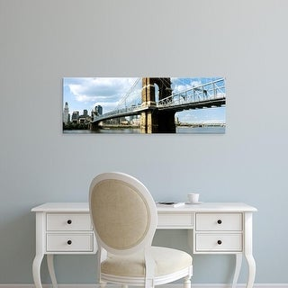 Easy Art Prints Panoramic Image 'John A. Roebling Suspension Bridge, Ohio River, Cincinnati, Hamilton, Ohio' Canvas Art