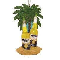 Kurt Adler Corona Beer Bottles With Limes Under Palms On Beach Ornament