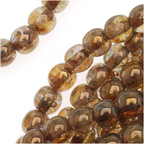 Czech Glass Druk Round Beads 4mm Smokey Topaz Gold Luster (100)