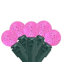 "Set of 50 Pink LED G12 Berry Christmas Lights 4"" Bulb Spacing - Green Wire"