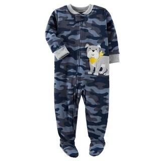 Carter's Baby Boys' 1 Piece Dog Fleece Pajamas, 12 Months - camo dog