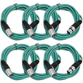 SEISMIC AUDIO (6 PACK) Green 10' XLR Microphone Cables