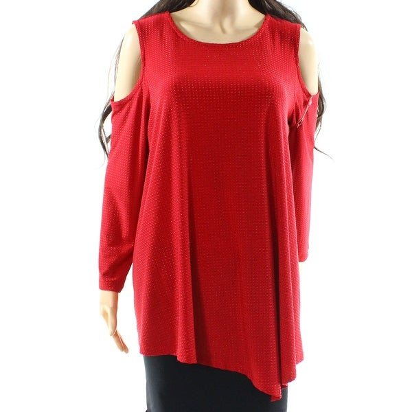 231cec0e7e8 Rafaella NEW Red Womens Size XL Cold-Shoulder Asymmetric Textured Blouse