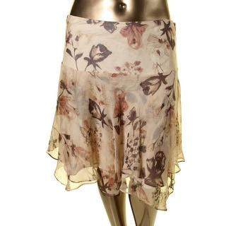 Lauren Ralph Lauren Womens Chiffon Floral Print A-Line Skirt
