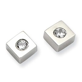 Chisel Stainless Steel CZ Polished Diamond Shaped Post Earrings