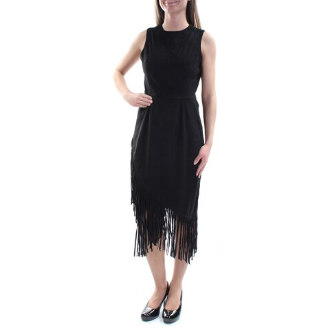 RACHEL ROY Womens Black Fringed Faux Suede Sleeveless Jewel Neck Tea Length Sheath Dress Size: 2