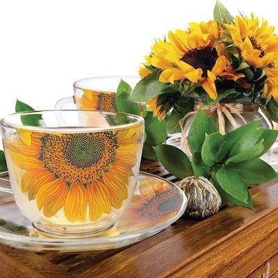 STP-Goods Sunflower Durable Glass Tea Cup and Saucer Set of 2