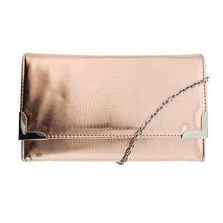 Style & Co. Womens Faux Leather Evening Clutch Handbag - Rose Gold - Small