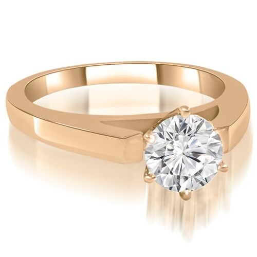 1.00 cttw. 14K Rose Gold Cathedral Solitaire Round Diamond Engagement Ring