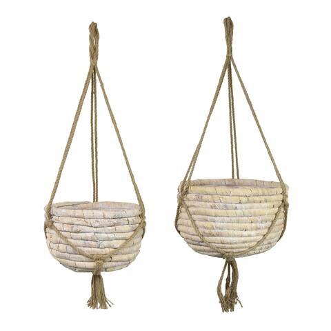 Plutus Brands Water Hyacinth Basket Hanging Planter Set Of Two in White Natural Fiber