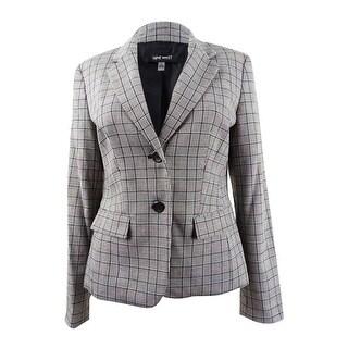 Link to Nine West Women's Two-Button Plaid Jacket - Cinnmon/Black Mult Similar Items in Suits & Suit Separates