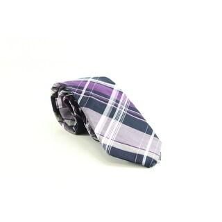 Michael Kors NEW Purple Gray Plaid Men's Cotton Neck Tie Accessory