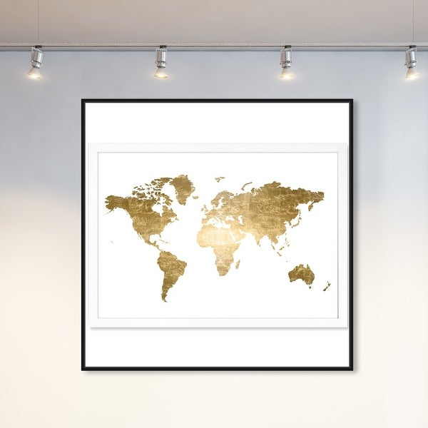 Oliver Gal 'Hipster Mapa Mundi Gold Foil' Maps and Flags Wall Art Framed Canvas Print World Maps - Gold, White. Opens flyout.