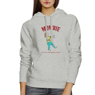 Mombie Sleep Deprived Grey Graphic Hoodie New Mom Funny Shirt Gift