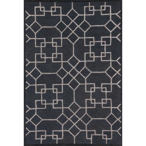 Alexander Home Modern Geometric Wool/Viscose Hand-Hooked Rug